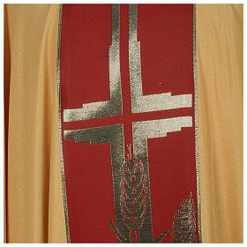 Chasuble dorée tissu or faille de laine s4