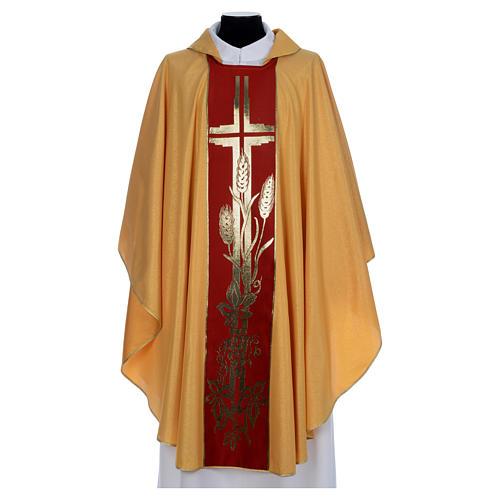 Chasuble dorée tissu or faille de laine 1
