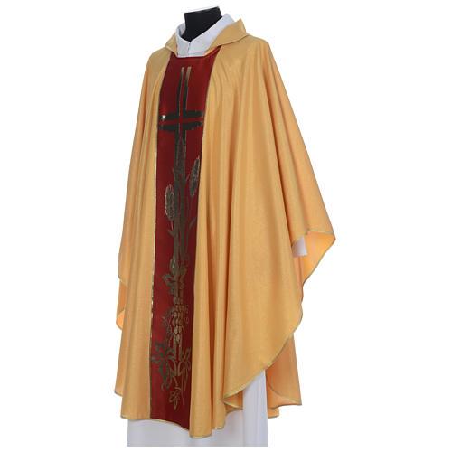 Chasuble dorée tissu or faille de laine 2