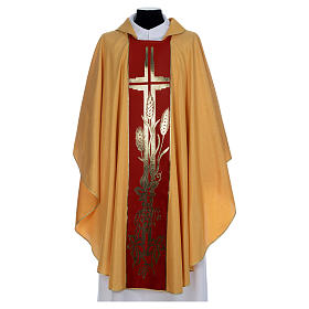 Gold Chasuble in wool faille s1
