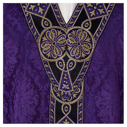 Catholic Priest Chasuble in damask sable 7