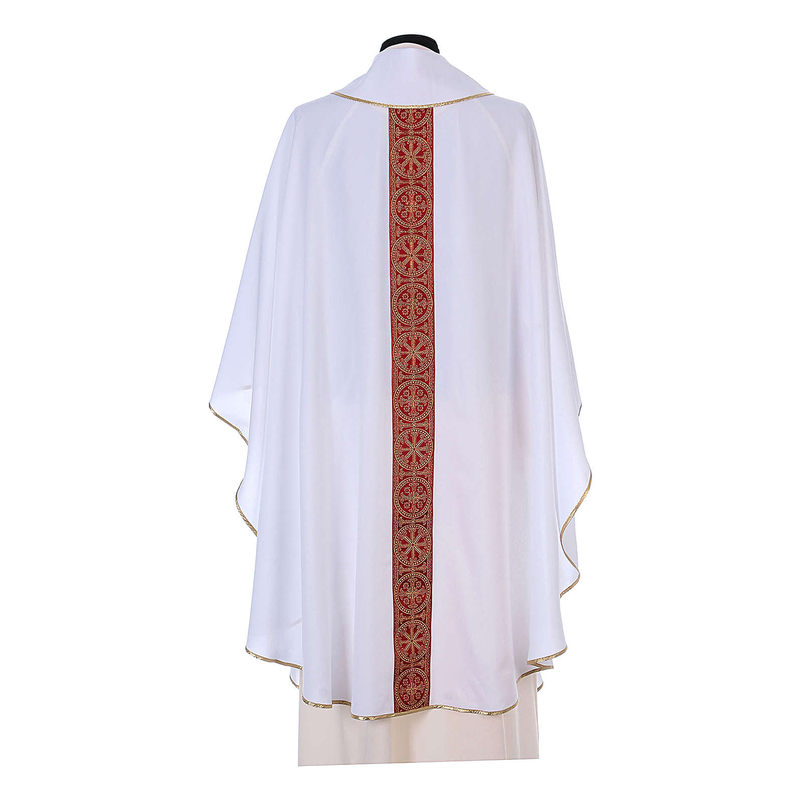 Chasuble with front and back orphrey in Vatican fabric, 100% polyester 4