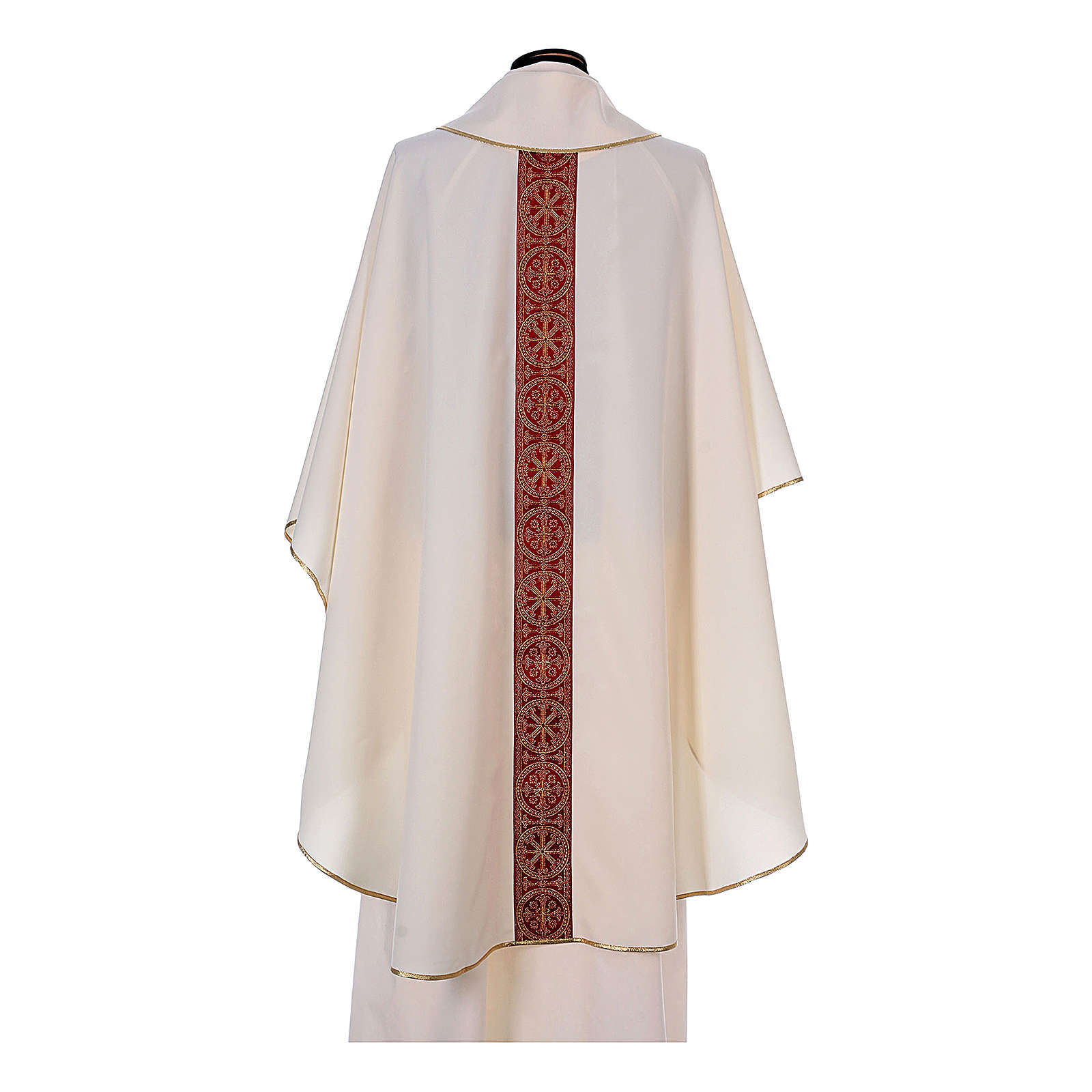 Priest Chasuble with front and back gold orphrey in Vatican fabric, 100% polyester 4