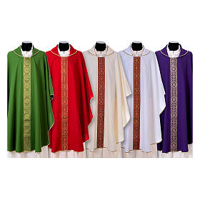 Priest Chasuble with front and back gold orphrey in Vatican fabric, 100% polyester s1