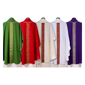 Priest Chasuble with front and back gold orphrey in Vatican fabric, 100% polyester s2