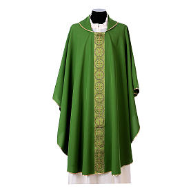 Priest Chasuble with front and back gold orphrey in Vatican fabric, 100% polyester s3