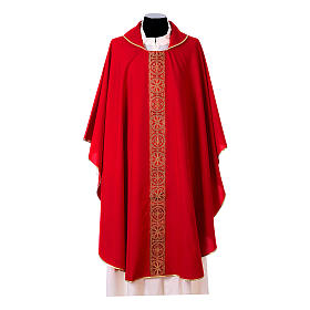 Priest Chasuble with front and back gold orphrey in Vatican fabric, 100% polyester s4