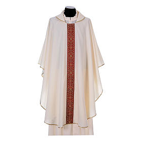 Priest Chasuble with front and back gold orphrey in Vatican fabric, 100% polyester s5