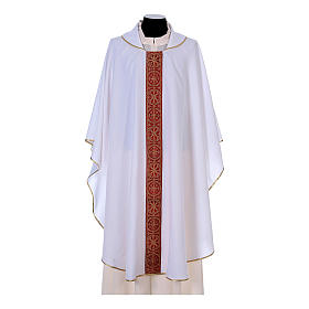 Priest Chasuble with front and back gold orphrey in Vatican fabric, 100% polyester s6