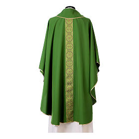Priest Chasuble with front and back gold orphrey in Vatican fabric, 100% polyester s8