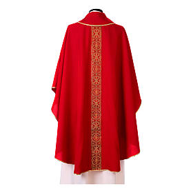 Priest Chasuble with front and back gold orphrey in Vatican fabric, 100% polyester s9