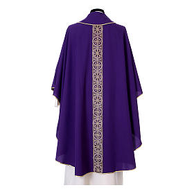 Priest Chasuble with front and back gold orphrey in Vatican fabric, 100% polyester s12