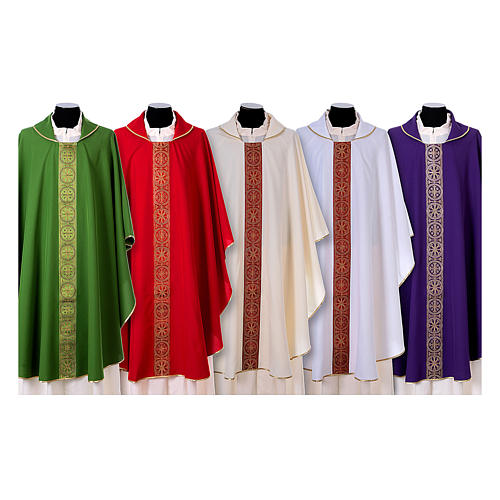 Priest Chasuble with front and back gold orphrey in Vatican fabric, 100% polyester 1