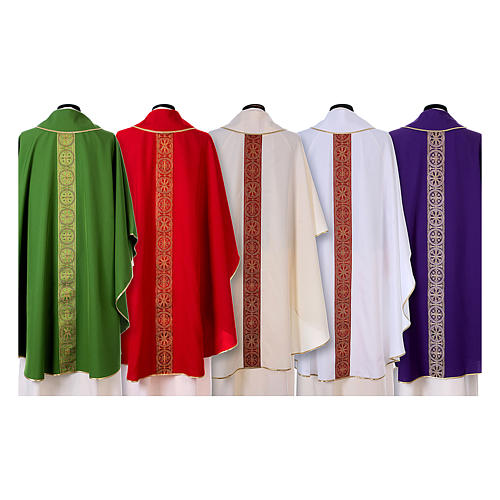 Priest Chasuble with front and back gold orphrey in Vatican fabric, 100% polyester 2