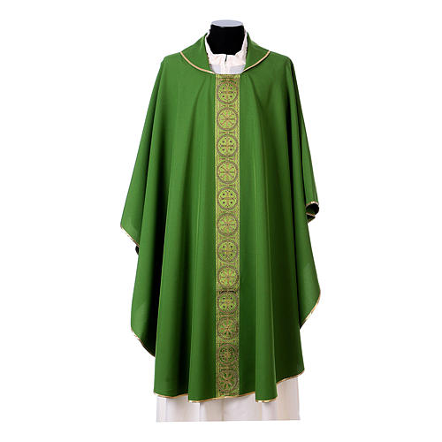 Priest Chasuble with front and back gold orphrey in Vatican fabric, 100% polyester 3