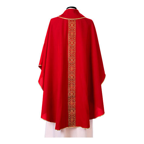Priest Chasuble with front and back gold orphrey in Vatican fabric, 100% polyester 9