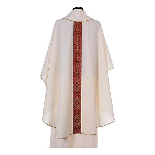 Priest Chasuble with front and back gold orphrey in Vatican fabric, 100% polyester 10
