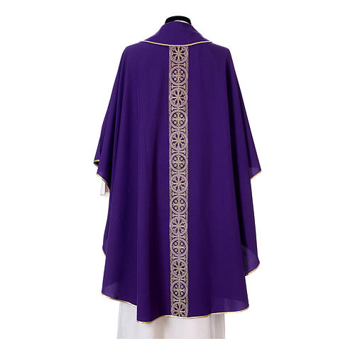 Priest Chasuble with front and back gold orphrey in Vatican fabric, 100% polyester 12
