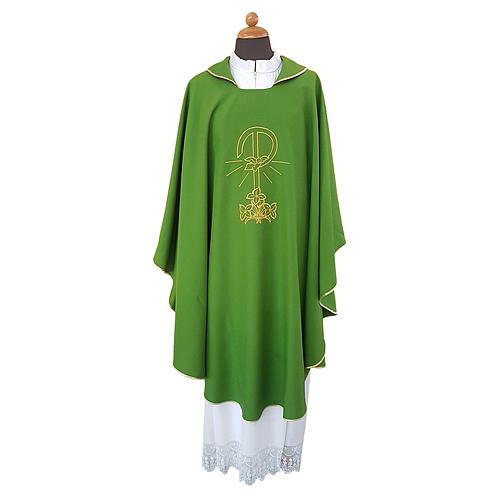 Casula ricamo Pace Gigli fronte retro tessuto Vatican 100% poliestere 1