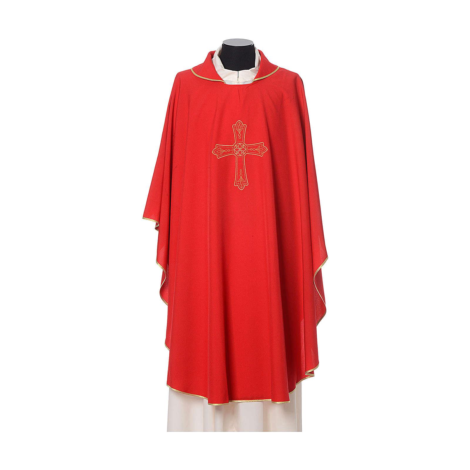 Casulla bordado cruz flor delante detrás tejido Vatican 100% poliéster 4