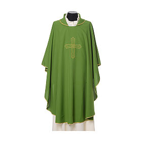 Casulla bordado cruz flor delante detrás tejido Vatican 100% poliéster s3