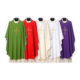 Chasuble broderie croix fleur avant arrière tissu Vatican 100% polyester s1