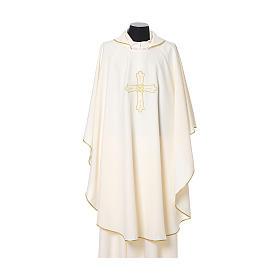 Chasuble broderie croix fleur avant arrière tissu Vatican 100% polyester s5