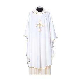 Chasuble broderie croix fleur avant arrière tissu Vatican 100% polyester s6