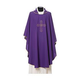 Chasuble broderie croix fleur avant arrière tissu Vatican 100% polyester s7