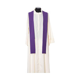 Chasuble broderie croix fleur avant arrière tissu Vatican 100% polyester s11