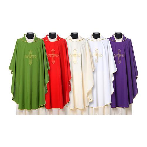 Chasuble broderie croix fleur avant arrière tissu Vatican 100% polyester 1