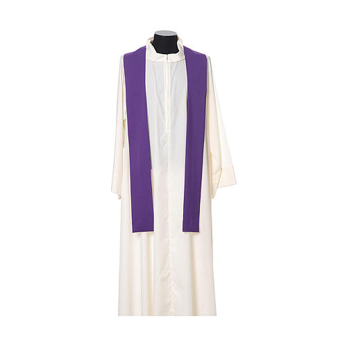 Chasuble broderie croix fleur avant arrière tissu Vatican 100% polyester 11