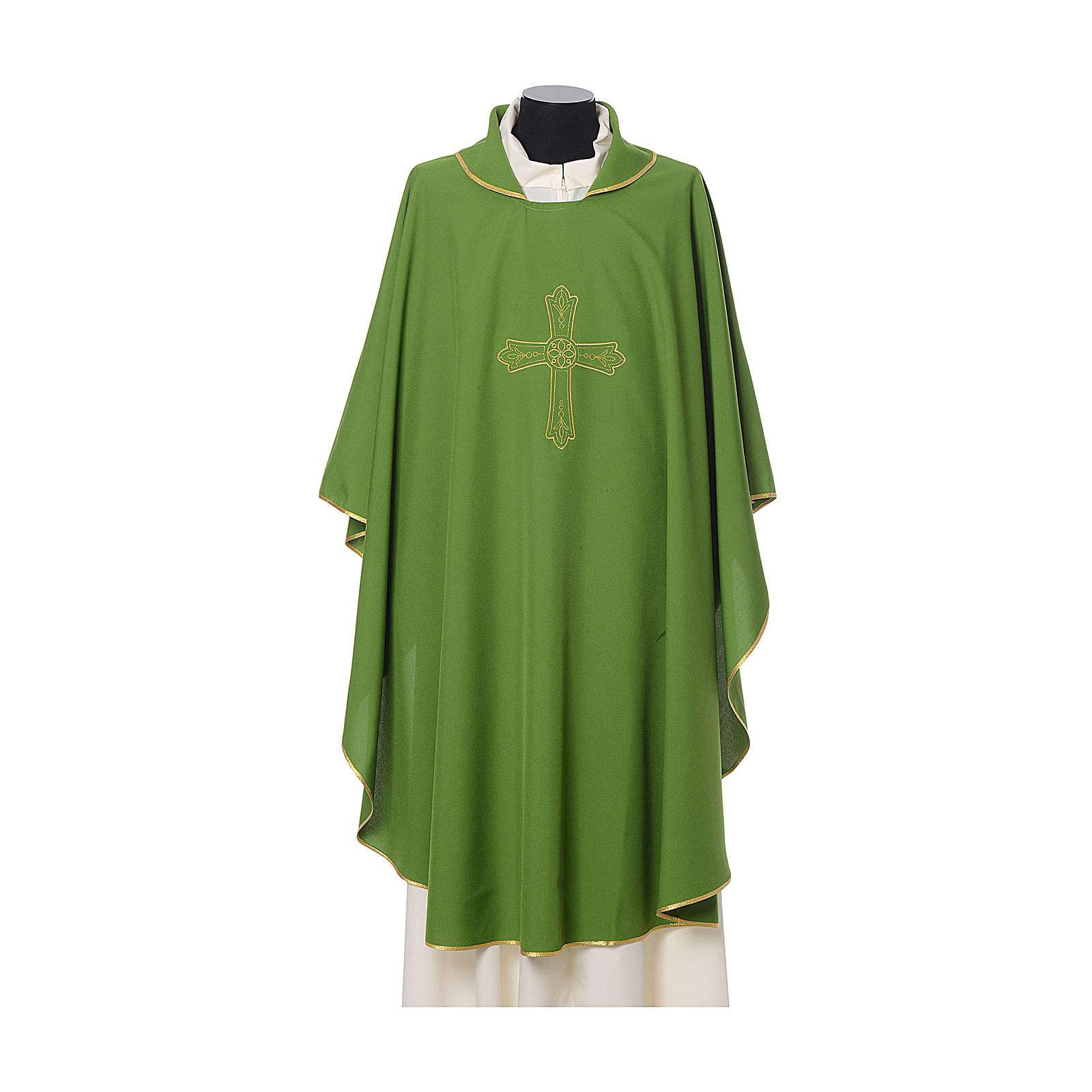 Casula ricamo croce fiore davanti dietro tessuto Vatican 100% poliestere 4