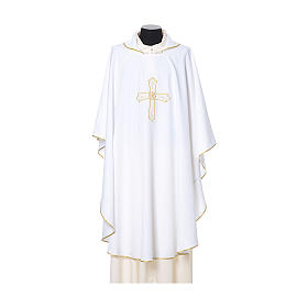Casula bordado cruz flor ambos lados tecido Vatican 100% poliéster s6