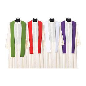 Casula bordado cruz flor ambos lados tecido Vatican 100% poliéster s12