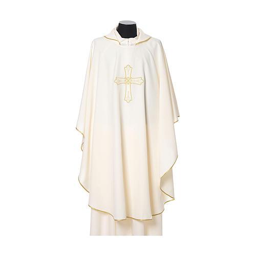Casula bordado cruz flor ambos lados tecido Vatican 100% poliéster 5