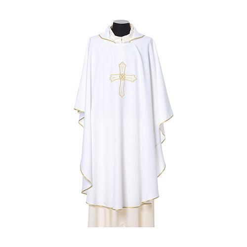 Casula bordado cruz flor ambos lados tecido Vatican 100% poliéster 6