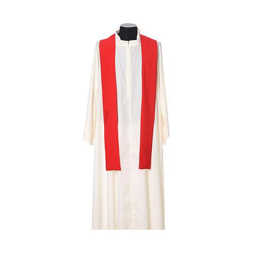 Casula bordado cruz flor ambos lados tecido Vatican 100% poliéster 9