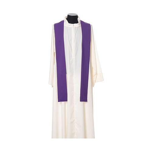 Casula bordado cruz flor ambos lados tecido Vatican 100% poliéster 11