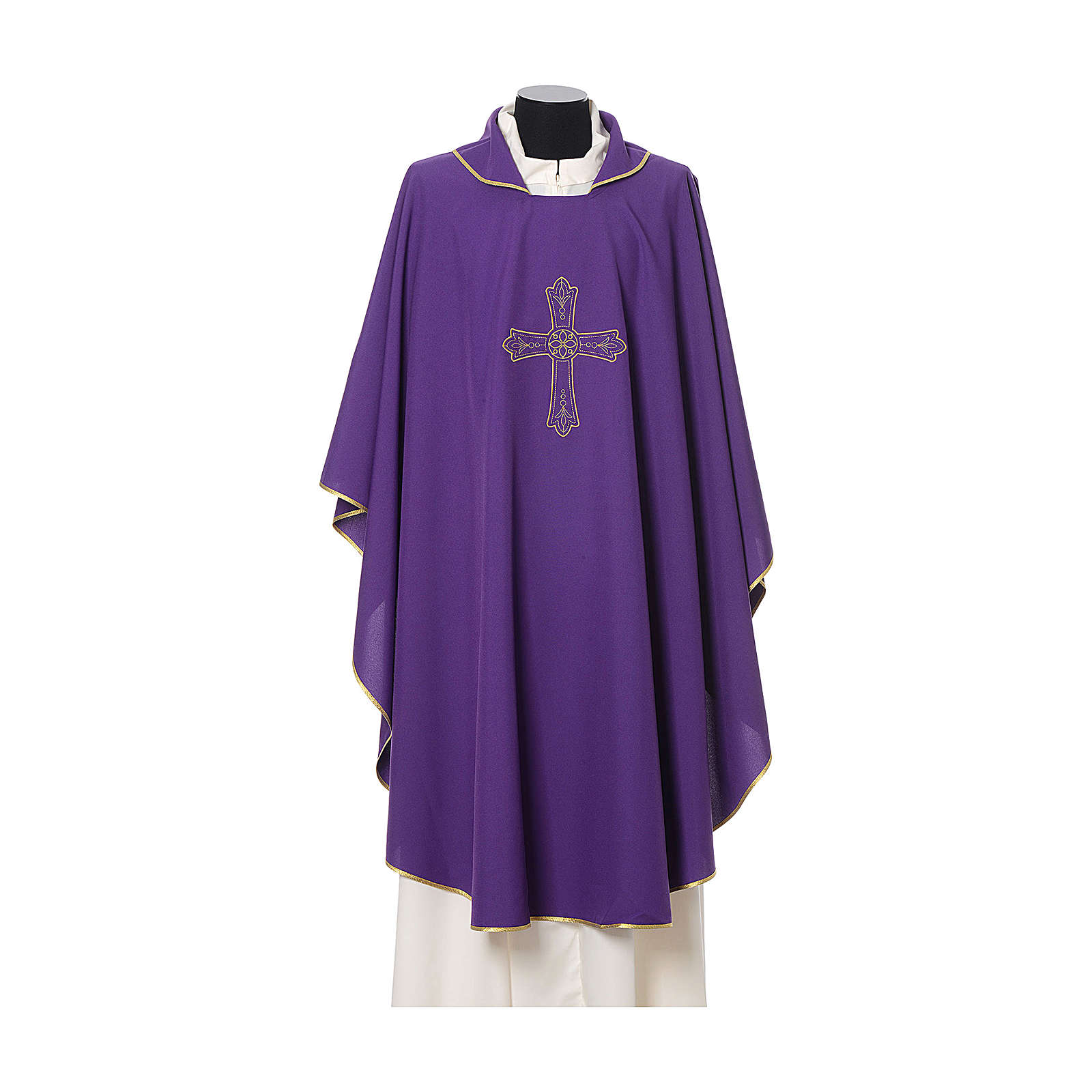Catholic Priest Chasuble with cross and flower embroidered on front and back, Vatican fabric 4
