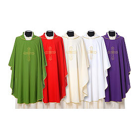 Catholic Priest Chasuble with cross and flower embroidered on front and back, Vatican fabric s1