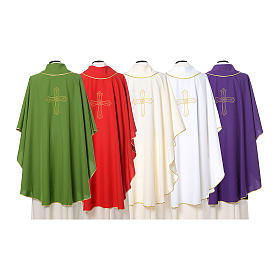 Catholic Priest Chasuble with cross and flower embroidered on front and back, Vatican fabric s2