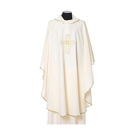 Catholic Priest Chasuble with cross and flower embroidered on front and back, Vatican fabric s5