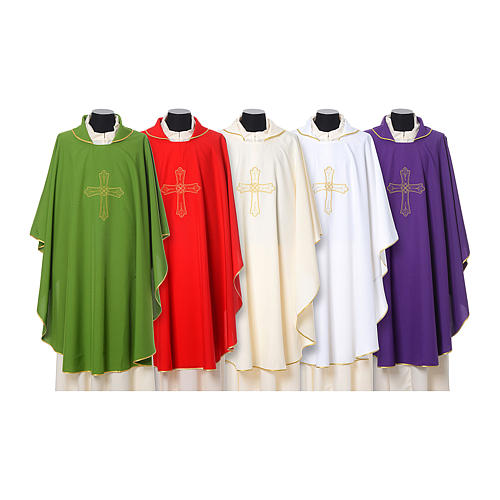 Catholic Priest Chasuble with cross and flower embroidered on front and back, Vatican fabric 1
