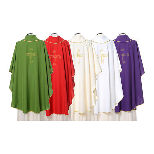 Catholic Priest Chasuble with cross and flower embroidered on front and back, Vatican fabric 2