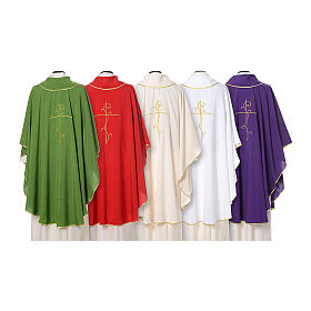 Chasuble with cross embroidered on front and back, ultra lightweight Vatican fabric s2