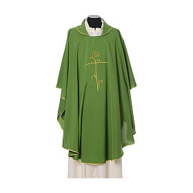 Chasuble with cross embroidered on front and back, ultra lightweight Vatican fabric s3