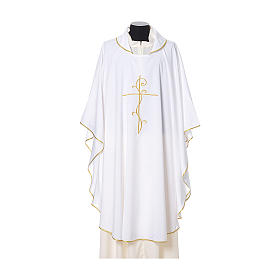 Chasuble with cross embroidered on front and back, ultra lightweight Vatican fabric s6