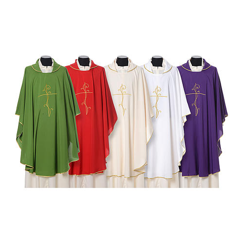 Chasuble with cross embroidered on front and back, ultra lightweight Vatican fabric 1