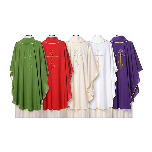 Chasuble with cross embroidered on front and back, ultra lightweight Vatican fabric 2